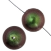 Glass 14mm Round Beads Metallic Green - Strung